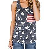 JUTOO Gilet Femme Femmes Casual sans Manches Drapeau américain Imprimé Débardeur Tops Blouse T-Shirt