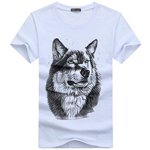Cayuan 3D Lobo Gráficos Camisetas Hombres Cuello Redondo T-Shirt...