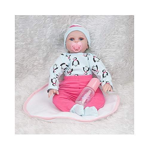 ADATEN Silikon Puppe Wiedergeboren Pflege Puppen Lebensecht Vinyl Handgemacht Mode Puppen 55cm Größe Realistisch Erwachsen Werden Partner Mit schönem Kostüm Junge Mädchen Set (Winzigen Körper Kostüm)