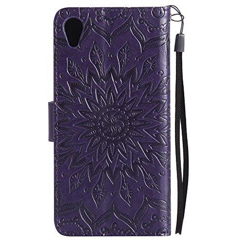Für Sony Xperia X Fall, Prägen Sonnenblume Magnetic Pattern Premium Soft PU Leder Brieftasche Stand Case Cover mit Lanyard & Halter & Card Slots ( Color : Red ) Purple