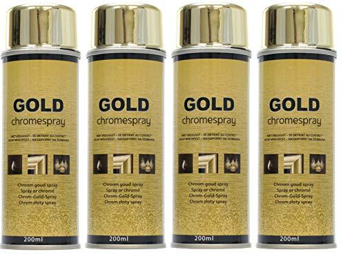 4 botes pintura cromada dorada efecto espejo Gold