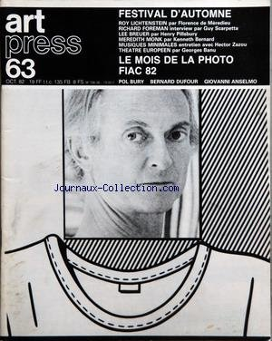 ART PRESS [No 63] du 01/10/1982 - FESTIV...