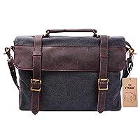 Father's Day S-ZONE Mens Vintage Canvas Leather Messenger Traveling Briefcase Shoulder Laptop Bag Handbag (Deep Gray)