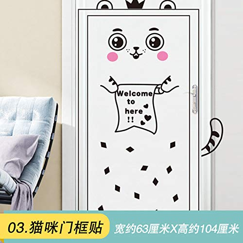 (MEIWALL Cartoon Tür 3D-Cat Türrahmen Aufkleber Wandsticker Wandaufkleber für Kinder Kinderzimmer Schlafzimmer Wohnzimmer Küche Kinderzimmer Wand Kunst Dekor Aufkleber)