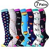 Lot de 7 paires de chaussettes de compression pour femme de 15 à 20 mm - - S/M