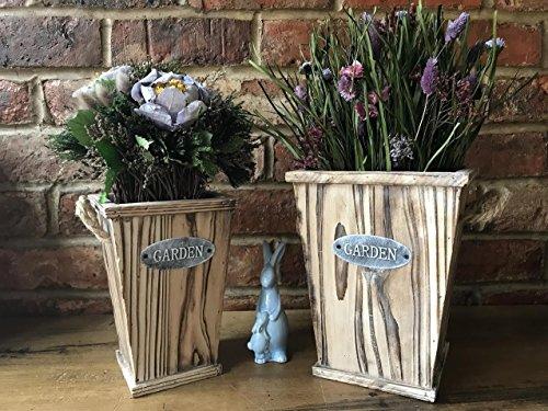 S/2vintage rústico de madera jardín planta grande cubos jarrón de flores macetas