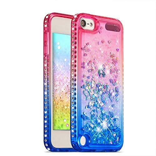 HMTECH iPod Touch 5 Hülle Glitzer Gradient Rosa Blau Herz Flüssigkeit Fließende Liquid Weiche Silikon Durchsichtige Schale Bumper Etui für iPod Touch 6,Pink Blue Liquid (Herz Case Für Ipod Touch 5)