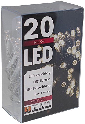 Led Lichterkette Batterie mit Timer 20 Leds warmweisses Licht transparentes Kabel 20 Led Batterie