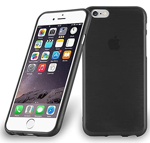 Cadorabo - Etui Housse Gel (silicone) pour Apple iPhone 6 / 6S Design: METAL BROSSÉ (brushed cover) - Etui Coque Case Cover Bumper en NOIR DE JAIS