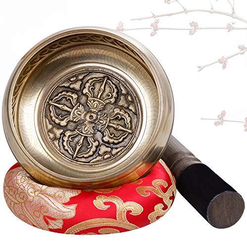 Rovtop handgemachte tibetische Klangschalen Set mit Kissen und lederartige Klöppel, geeignet für Yoga Meditation Stress und Gebet