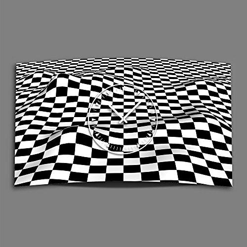 DIXTIME 3DS-0154 Horloge Murale Design Moderne et silencieuse Noir/Blanc