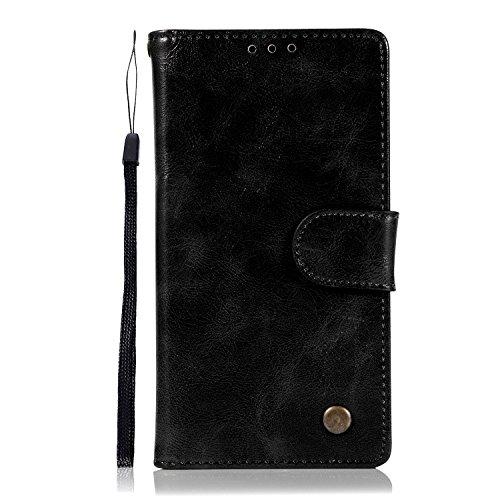 Chreey Motorola Moto E4 Hülle, Premium Handyhülle Tasche Leder Flip Case Brieftasche Etui Schutzhülle Ledertasche, Schwarz