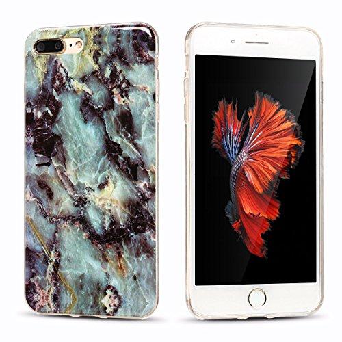 iPhone 7Plus Custodia, Marmo Design Pattern TPU sottile in silicone Custodia protettiva per iPhone 7Plus, E Lush cristallo trasparente trasparente antigraffio Custodia Ultra Chic Thin Morbido Custod Grau und lila