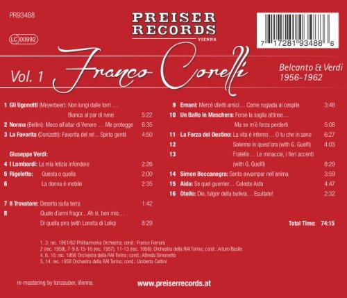 Meyerbeer/Bellini/Verdi : Franco Corelli Vol. 1 Belcanto & Verdi Rec. 1956-62. Corelli.