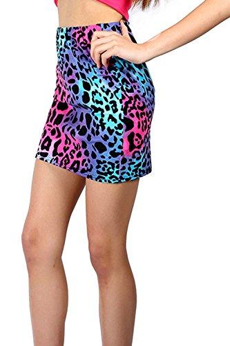 Womens Neon Animal Print Mini Skirt