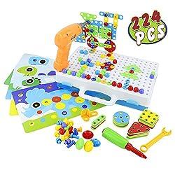 Mosaik Steckspiel 3D Puzzle Kreatives Baby Spielzeug Bausteine Motorikspielzeug Steckspielzeug mit Schraubendreher Schrauben Pädagogisches Steckpuzzle Kinderspielzeug für Junge Mädchenab 3 4 5 Jahren