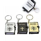 ICYANG 3Pcs Schlüsselanhänger Mini Bibel Englisch Religiöse Christian Jesus Kreuz Schlüsselring Bequemes Lesen Geschenk Souvenirs