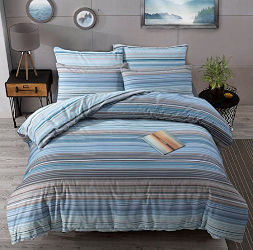 Duvet Cover Set Double Bed With Pillowcases Quilt Bedding Set Reversible Printed Poly Cotton , Ombre Stripe Blue