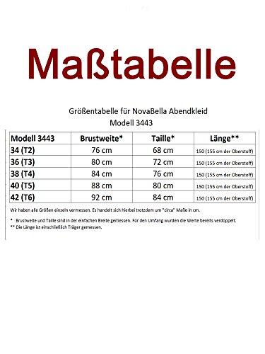 NovaBelle - 3443 brautkleid asymétrique en chiffon taille 34–42 satin crème Ecru - Creme-Weiß