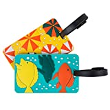 Travelon Women's Set of 2 Luggage Tags, Beach Fun