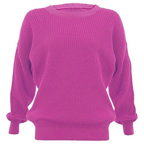 Janisramone femmes tricot chunky surdimensionné bouffant manches longues plaine Jumper Rouge - Cerise