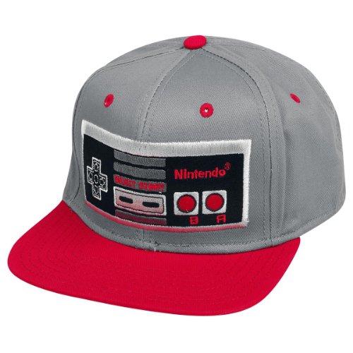 Nintendo Controller Snapback Cap Basecap für Gamer grau rot hochwertig Geschenk (Super Nintendo-bekleidung)