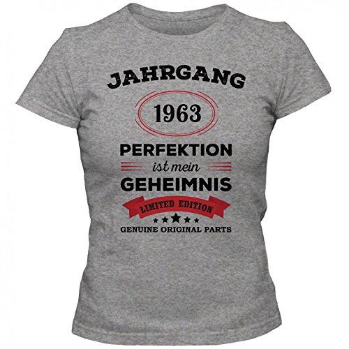Jahrgang 1963 T-Shirt | Geburtstags-Shirt | Perfektion ist mein Geheimnis | 54. Geburtstag | Frauen | Shirt © Shirt Happenz Graumeliert (Grey Melange L191)