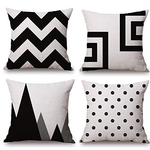 Huifengs lino copriletto cuscino coperture federa per cuscino quadrato nero e bianco motivo geometrico decorativo per divani sedie cuscino set di 4letti, 45,7x 45,7cm