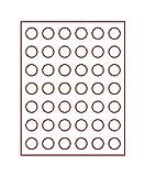Münzbox mit 42 Vertiefungen á 27,5 mm Ø für lose Münzen (Lindner 2107) Standard (Grauer Schuber, rote Veloureinlage)