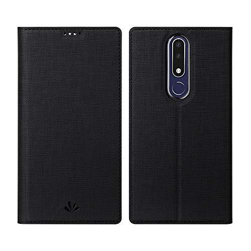 Feitenn Ersatz für Nokia 3.1 Plus Hülle, Premium PU Leder Tasche Wallet Flip Case Schutzhülle mit Kartenfächer Standfunktion PU Cover TPU Bumper Magnetisch Stand Cover Case (Nokia 3.1 Plus, Schwarz)