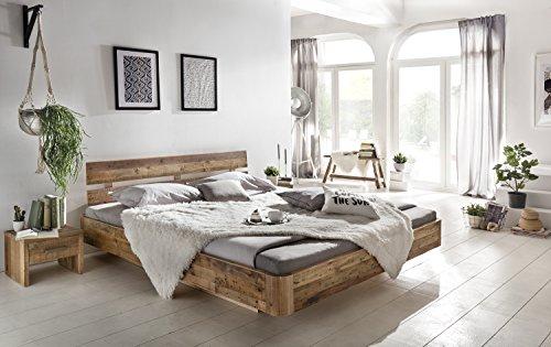 Woodkings® Bett 180x200 Hampden Doppelbett recycelte Pinie Schlafzimmer Massivholz Design Doppelbett Schwebebett massive Naturmöbel Echtholzmöbel günstig