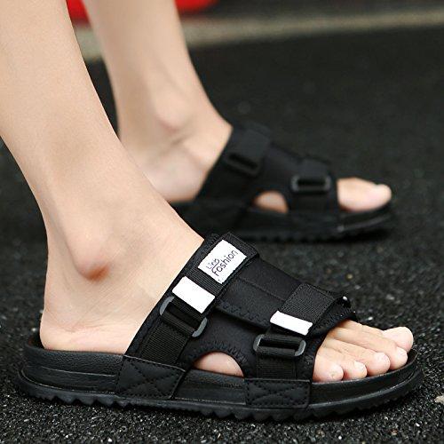 Les Loisirs Tide, Été Traînée, Sandales, Pantoufles, Les Chaussures De Plage Antidérapant black and white