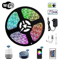 WiFi LED Stripes Streifen Bänder Farbwechsel Selbstklebend Lichtband mit Ferbedienung und Smart WiFi Kontroller, steuerbar via App, 12V 24W für Haus, Garten, Dekoration EINWEG (5m)