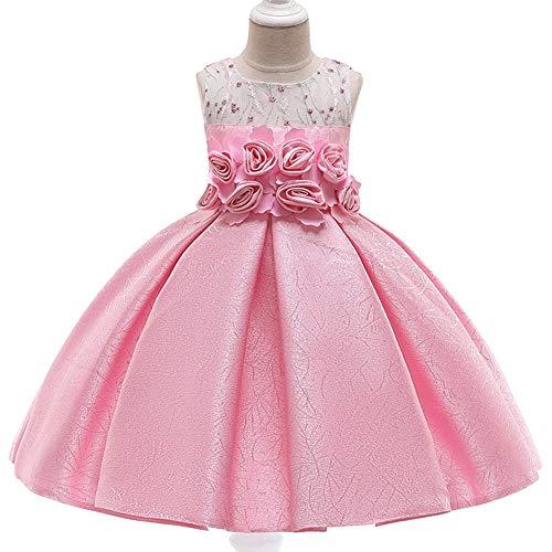 YARUMD Mädchen Kleid Tüll Prinzessin Ärmellos Tanzbekleidung Blumen Lang Rock mit Schmetterling Tütü für Kostüm Cosplay Party Brautkleider Prinzessin Kleid 4-15Jahre,pink,120