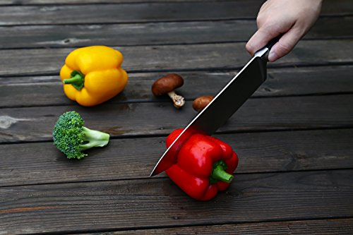 Aicok Messer Set, Allzweckmesser und Kochmesser, Edelstahlklinge, Stahl geschmiedet, Kochmesser Set, Messer mit ergonomischem Griff -