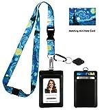 Vincent Van Gogh the Starry Night Print Lanyard con portafoglio porta badge in pelle PU con 3 tasche per schede, clip di sicurezza. Torcia portachiavi moschettone.