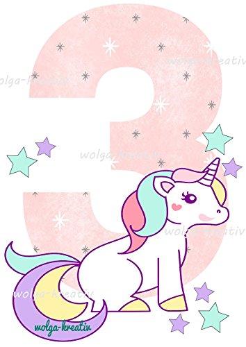 wolga-kreativ Applikation Geburtstag Mädchen 3 Einhorn Bügelbild zum selbst Aufbügeln Geburstagsshirt