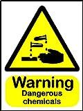 Warnschild Hinweisschild-ätzende 'Warning gefährlicher Chemikalien (Symbol) ', Größe: 200 x 150 mm, Material: selbstklebendes Vinyl