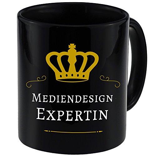 Tasse Mediendesign Expertin schwarz - Becher Pott Kaffee Tee Lustig Witzig Sprüche
