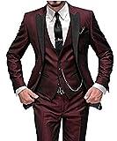 Judi Dench @ Vestito Abito del Smoking da 3 pezzi sottile da Uomo con il rivestimento dei pantaloni del rivestimento, Taglia XL,Borgogna