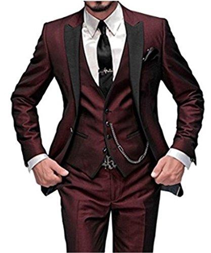 Judi Dench @ Herren Hochzeit Slim Fit 3 Stueck Tuxedo Anzug mit Jacke Hosen Weste, Groesse 6XL,Burgund (Hosen-anzug 3 Drei Stück Stück)