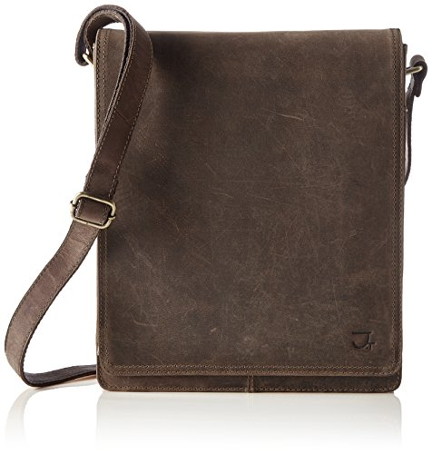 James Tyler Borsa in pelle London in pelle di bufalo cerata, ca. 27 x 30 x 7cm coffee vintage