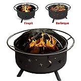 XEMQENER Brasero Rond d'extérieur avec Barbecue Étagère pour Jardin, terrasse, Camping, Lune et étoiles 75 cm x 41 cm
