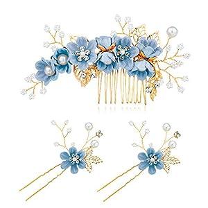 Czemo 3 Stück Haarkamm Künstliche Perlen Kristall Blume Haarkamm Braut Haarschmuck Haarnadeln Hochzeit Haarkamm Schmuck für Damen