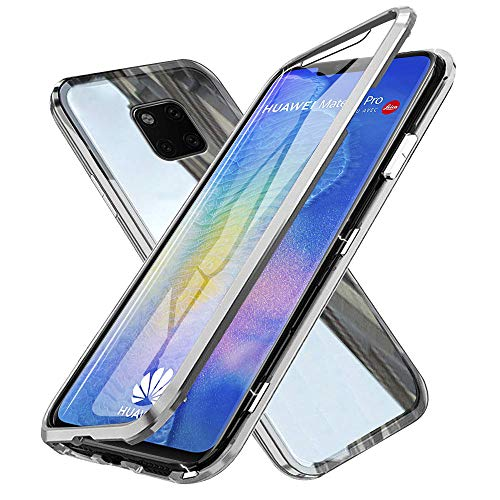 Case for Huawei Mate 20 Pro, Fullbody Magnetic Adsorption Flip Cover with Tempered Glass One-Piece Design Ultra Slim Metal Bumper Frame and Shockproof Collision Protective Shell - Silver Design Pate