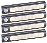 Luminea LED Leiste: 4er-Set Batterie-LED-Schrankleuchten, PIR- & Lichtsensor, 0,6W, 3000 K (LED-Kleiderschrank-Leuchten)
