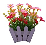 #10: NOVICZ Natural looking Artificial Flowers with Flower Vase (Pink)