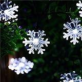 Upxiang 20 LED Outdoor Lichterkette Wasserdicht Solar Energie Schneekopf Fairy Lampe Garten Weihnachtsdeko (Weiß)