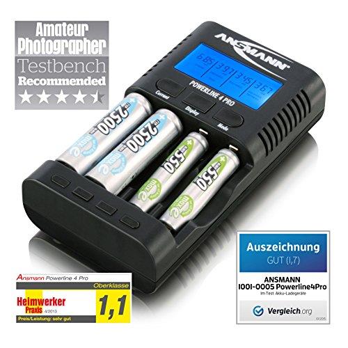 Ansmann 1001-0005 - Powerline 4 Pro Cargador de baterías para 1-4x Mignon AA, Micro AAA , USB / e indicador LCD