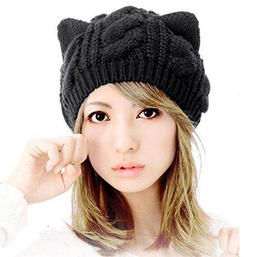 Culater® Orecchie del gatto di modo delle donne di canapa Fiori di lavoro a maglia del cappello (Nero)